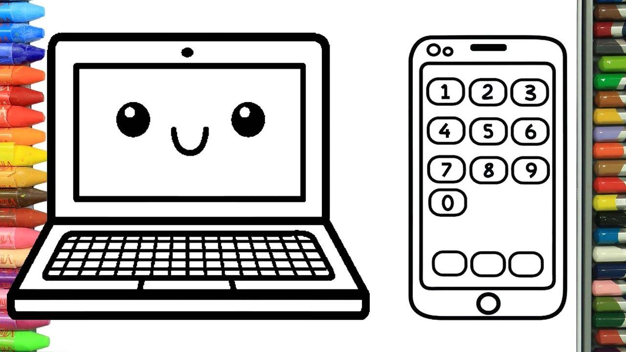 Como Dibujar Y Colorear Ordenador Portatil Y Telefono Inteligente