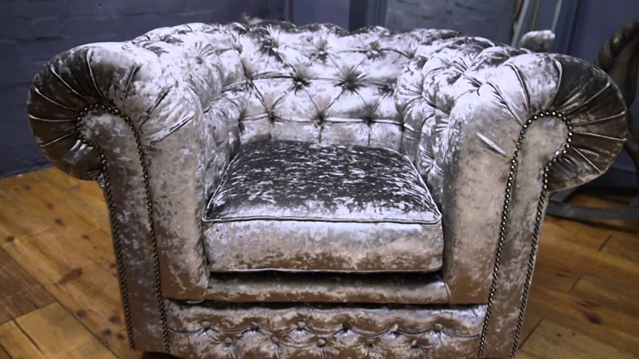 Genial Chesterfield Club Chair Armchair In Silver Grey Crushed Velvet   YouTube
