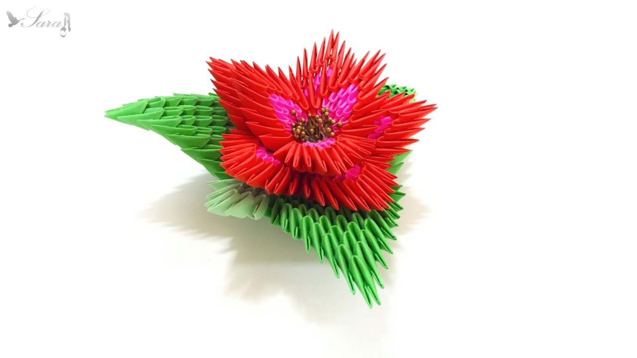 How To Make 3d Origami Flower 2 Youtube