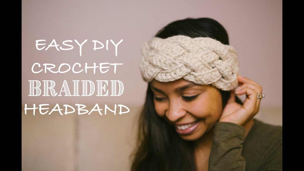 Diy Crochet Five Strand Braided Headband Youtube
