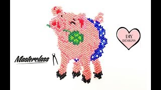 Свинка из Бисера Мастер Класс! Кирпичное Плетение Бисером! Животные из Бисера/ Pig bead!