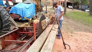 Cedar Log Being Milled on a Foley-Belsaw A-14 Circular Sawmill