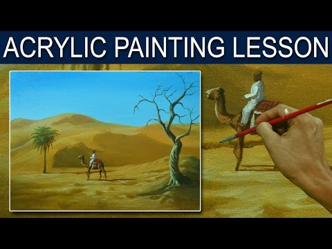 Acrylic Painting Tutorial | The Traveller in the Desert by JM Lisondra