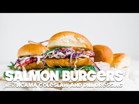 Salmon Burgers Recipe with Jicama Coleslaw and Dill Dressing