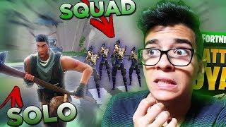 MINHA PRIMEIRA PARTIDA SOLO vs SQUAD!!! GANHEI? | Fortnite Battle Royale