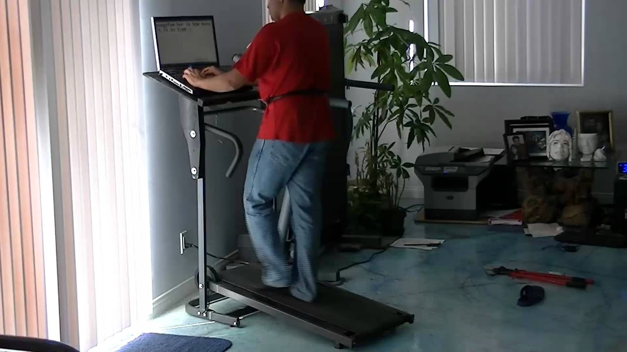 studyworkout treadmill desk with stability belt youtube rh youtube com Curved Manual Treadmills small manual treadmill under desk
