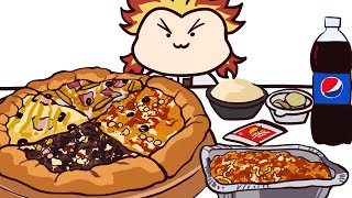 귀멸의 칼날 렌고쿠 피자 애니메이션 먹방 / DEMON…