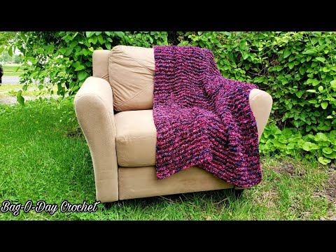 how-to-crochet-a-lapghan-throw-|-horizontal-ripples-|-bag-o-day-crochet-tutorial-#598