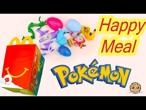 Mcdonald's Fast Food Happy Meal All 8 Pokemon + Playing Cards + Surprise Egg Toys 2015 Video