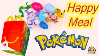 mcdonald s fast food happy meal all 8 pokemon playing cards surprise egg toys 2015 video