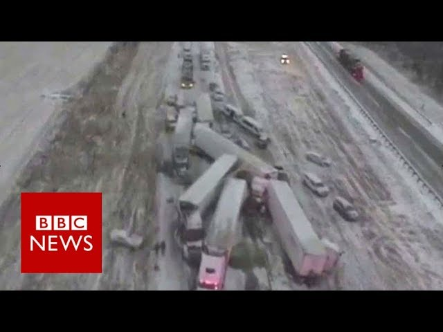 Drone footage shows highway pile-up - BBC News
