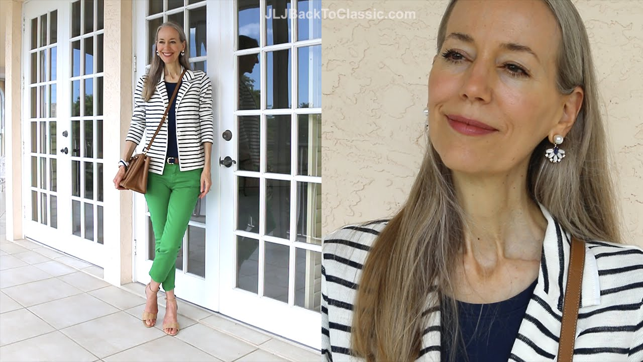 Classic Fashion/Style Over 40/50: How To Style a Striped Blazer--With Colored Jeans, Prada Tote