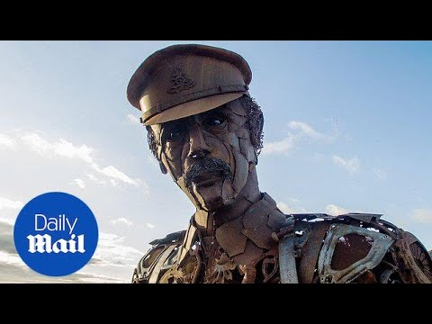 Giant scrap metal soldier commemorates First World War fallen - Daily Mail