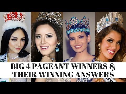 The Big 4 Pageant Winners and their winning answers (International, Earth, World, Universe)