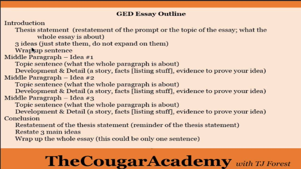How to Pass the GED Writing Test: Video 12 - How to Write a Five Paragraph  Essay (Outline Explained)