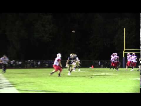 Quarterback Nolan Henderson from Smyrna throws a great back shoulder pass to Brandon Bishop
