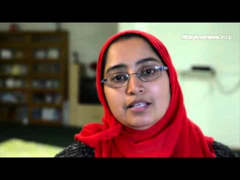 "Zeenat Sunhail after praying at Ahmadiyya Muslim Community mosque in #BayPoint ""please Trump don't d"