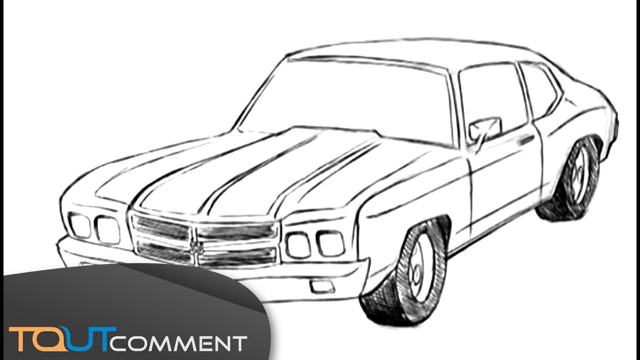 Dessin de voiture chevrolet camaro drawing car tutorial youtube - Dessin de voiture simple ...