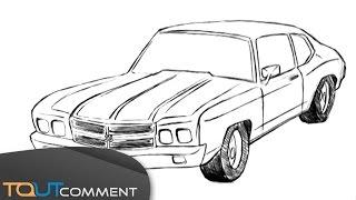 Dessin de voiture (Chevrolet Camaro) / drawing car tutorial