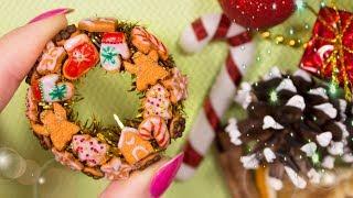 Christmas Gold Wreath ❄ Miniature DIY ❄ EASY Chrismas Idea