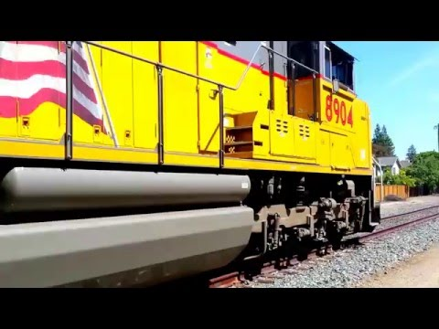 UNION PACIFIC SD70AH led hopper rake at Permanante quarry in Cupertino, California (3-clips)