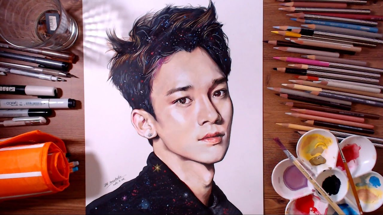 Exo Chen Kim Jong Dae Speed Drawing Drawholic Youtube