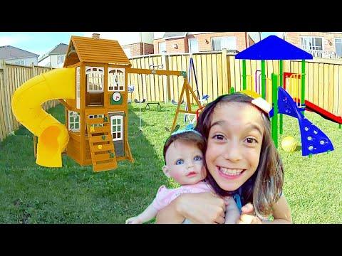 GANHEI UM PARQUINHO DE PRESENTE! ★ Tour e Brincadeiras com Sofia no Playground   Casa Nova no Canadá