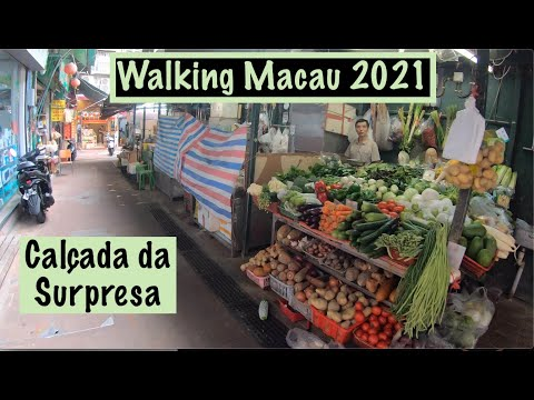 [4K] Walking Macau 2021: Calçada da Surpresa - 山頂醫院 (Mid-Levels & Mercado)