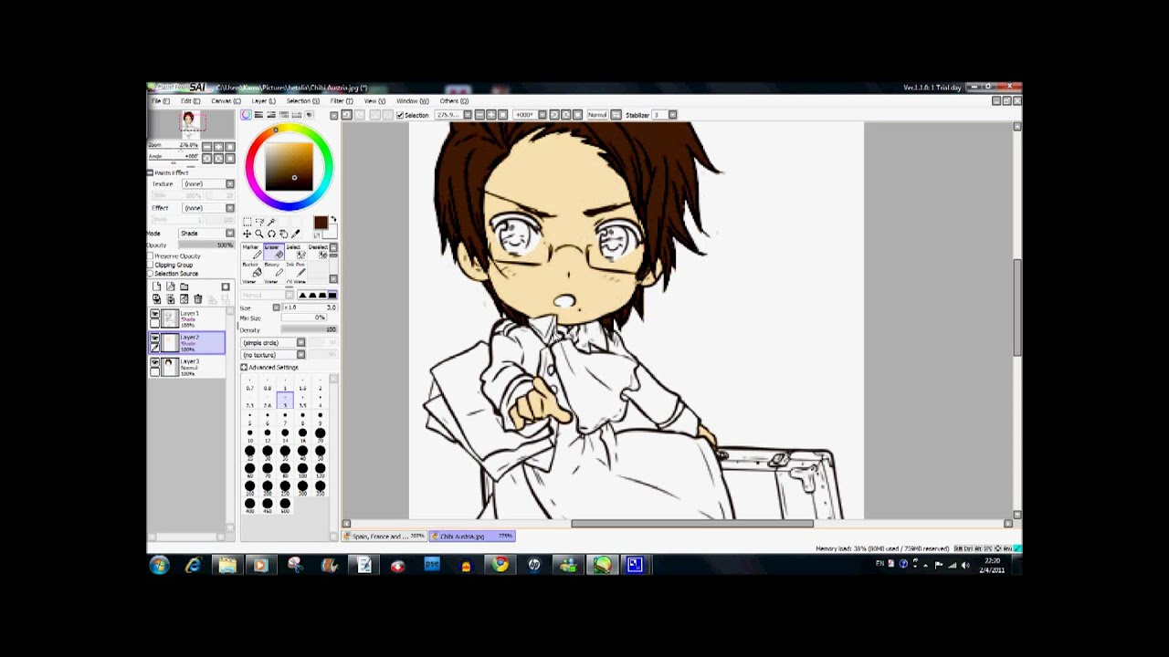 How to color like Himaruya Hidekaz using Paint Tool SAI and Chibi ...