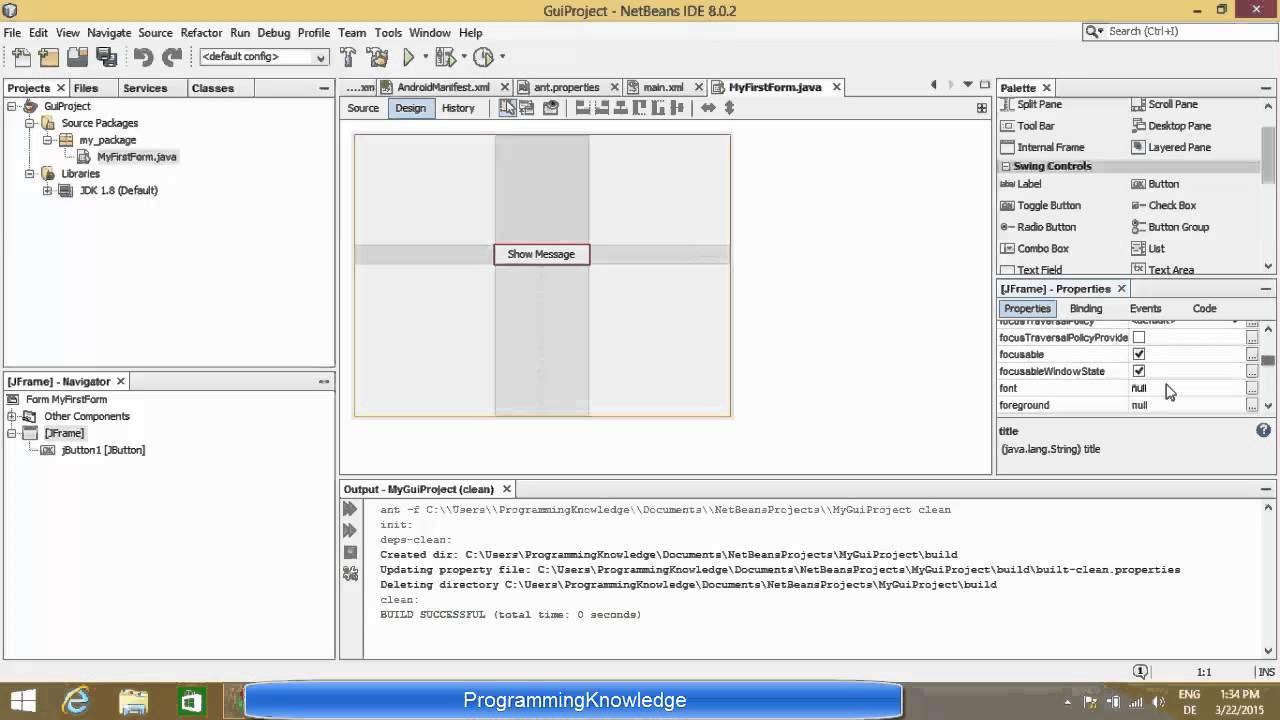 Creating First Java Swing GUI Application with NetBeans IDE