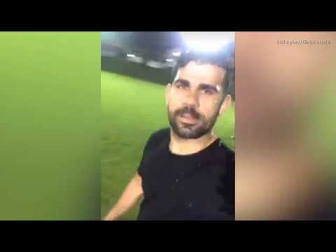 Chelsea outcast Diego Costa plays football with friends in Brazil