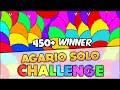 AGARIO YOUTUBE'S CHALLENGE ACCEPTED - 450 POINTS AGAR.IO WINNER! (Agar.io #92)