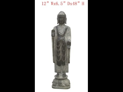 Chinese Antique Stone Standing Carving Buddha WK2938