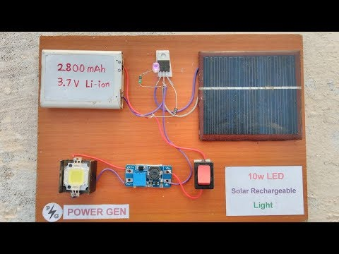 10w LED - Solar Rechargeable Light  | Power Full | Experiment |  Low cost