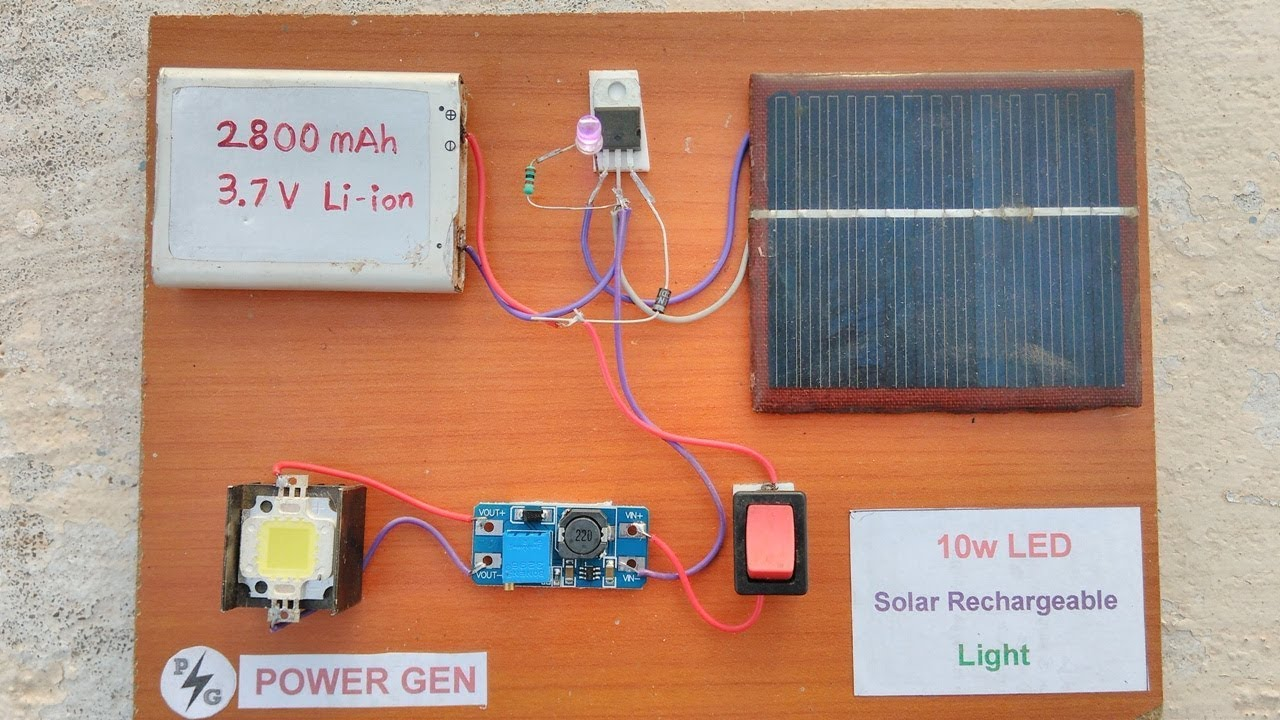 10w led solar rechargeable light power full experiment low cost [ 1280 x 720 Pixel ]