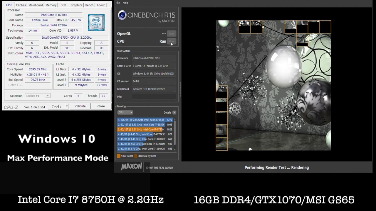 Intel Core i7 8750H CineBench R15 CPU Test! Score at 1052CB! With default  setting! MSI GS65