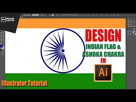 How to Design Indian flag and Ashoka Chakra in Illustrator | Illustrator Tutorial | PixaVector thumbnail