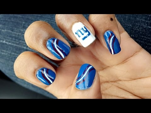 Football Ny Giants Nail Art Tutorial
