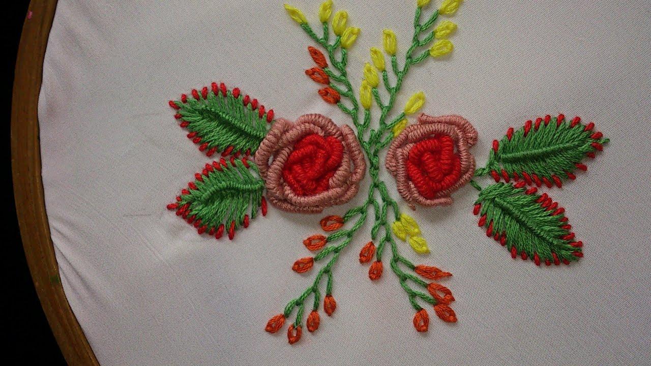 Hand embroidery bullion knot stitch rose