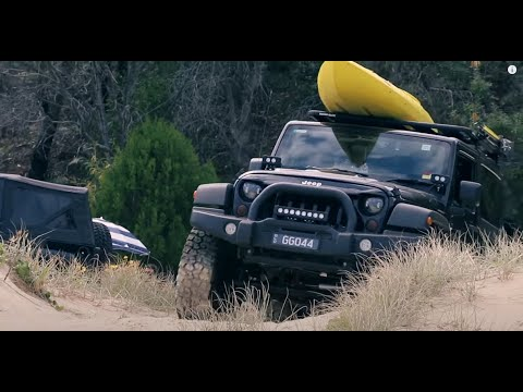 Jeep Wrangler JK TJ Beach offroading and camping in Moreton Island