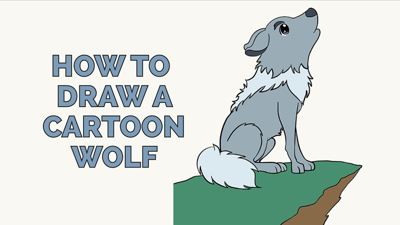 How To Draw A Cartoon Wolf  Easy Stepbystep Drawing Tutorial For Kids  And Beginners