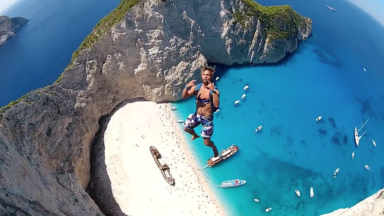 Most Incredible Basejump Site Navagio Beach Greece Youtube