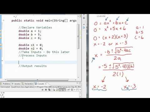 Java - Math Example Quadratic Formula