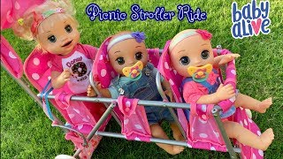 Baby Alive video picnic Isla and babies ride in the Triple Stroller