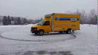 penske truck rental crazy driver donuts !