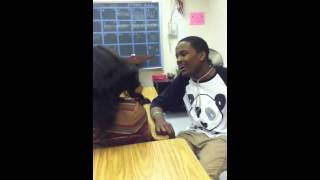 Girl fights boy in class
