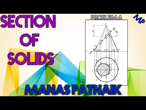 4. How to section a cone and draw true shape of section