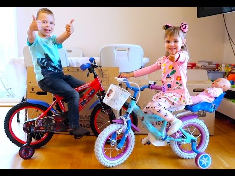 Ариша Первый Раз на Велосипеде Новые Детские велосипеды Фрозен  Человек Паук