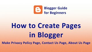 How to Create Pages and Genrate Privacy Policy for free - Blogger Guide for Beginners