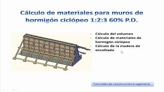 10.- Cálculo de materiales de construcción para muros de hormigón ciclópeo 1:2:3 60% P.D. - TCICM10